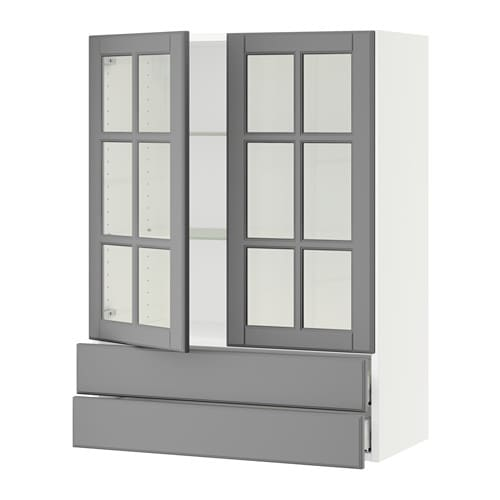 Sektion Wall Cabinet 2 Gl Doors 2drawers