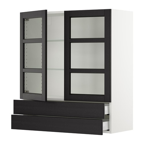 Sektion Wall Cabinet2 Glass Doors2drawers Lerh Black Stained
