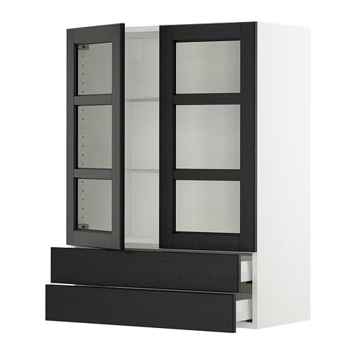 Sektion Wall Cabinet 2 Glass Doors 2drawers Lerh Black Stained