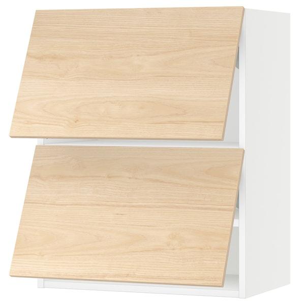 "SEKTION Wall cabinet horizontal w 2 doors, white/Askersund light ash effect, 24x15x30 """