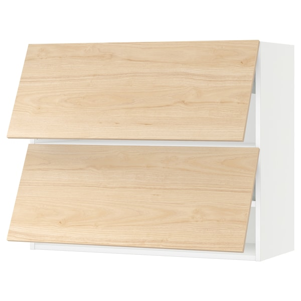 "SEKTION Wall cabinet horizontal w 2 doors, white/Askersund light ash effect, 36x15x30 """