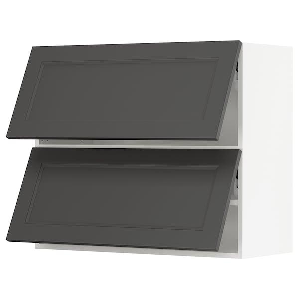 "SEKTION Wall cabinet horizontal w 2 doors, white/Axstad dark gray, 36x15x30 """