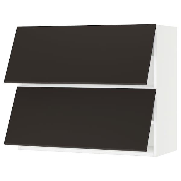 """SEKTION Wall cabinet horizontal w 2 doors, white/Kungsbacka anthracite, 36x15x30 """""""