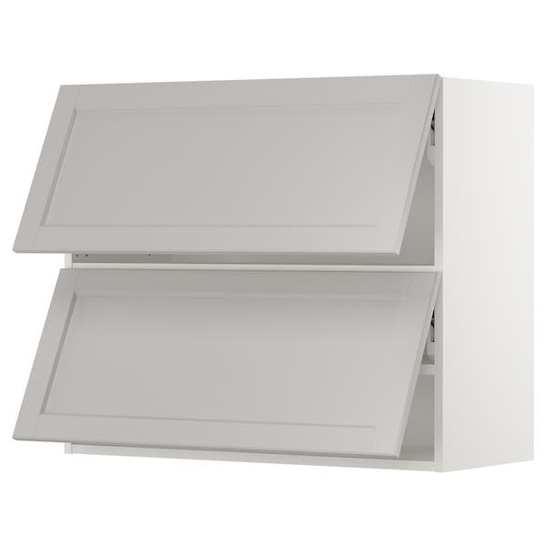 "SEKTION Wall cabinet horizontal w 2 doors, white/Lerhyttan light gray, 36x15x30 """