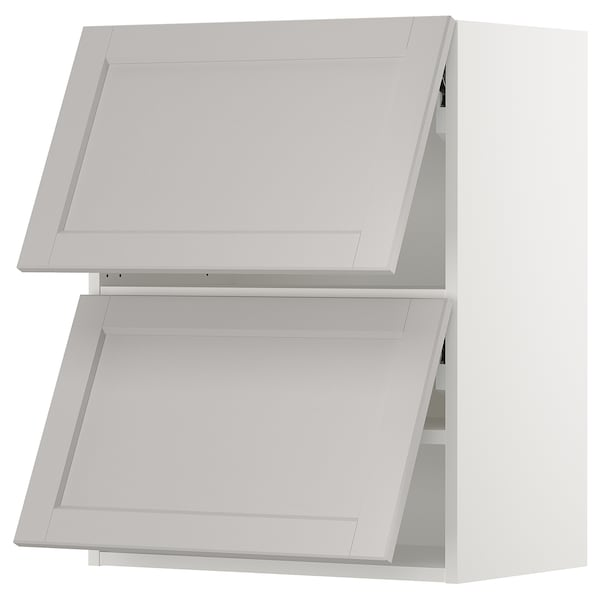 SEKTION Wall cabinet horizontal w 2 doors, white/Lerhyttan light gray, 24x15x30 ""