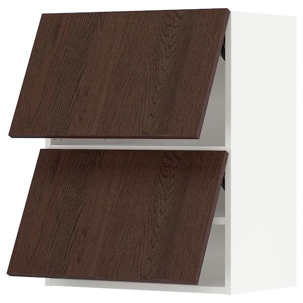 "SEKTION Wall cabinet horizontal w 2 doors, white/Sinarp brown, 24x15x30 """