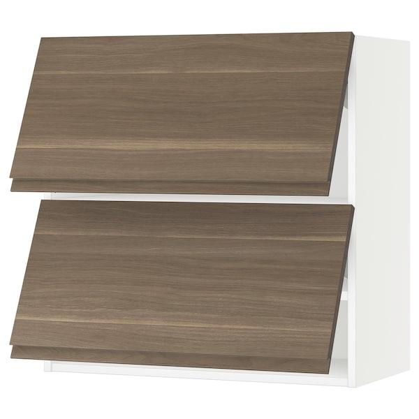 "SEKTION Wall cabinet horizontal w 2 doors, white/Voxtorp walnut, 30x15x30 """