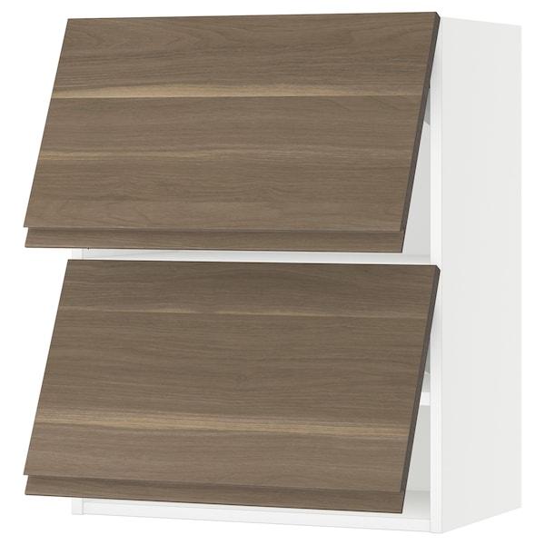 "SEKTION Wall cabinet horizontal w 2 doors, white/Voxtorp walnut, 24x15x30 """