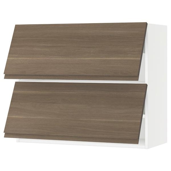 "SEKTION Wall cabinet horizontal w 2 doors, white/Voxtorp walnut, 36x15x30 """