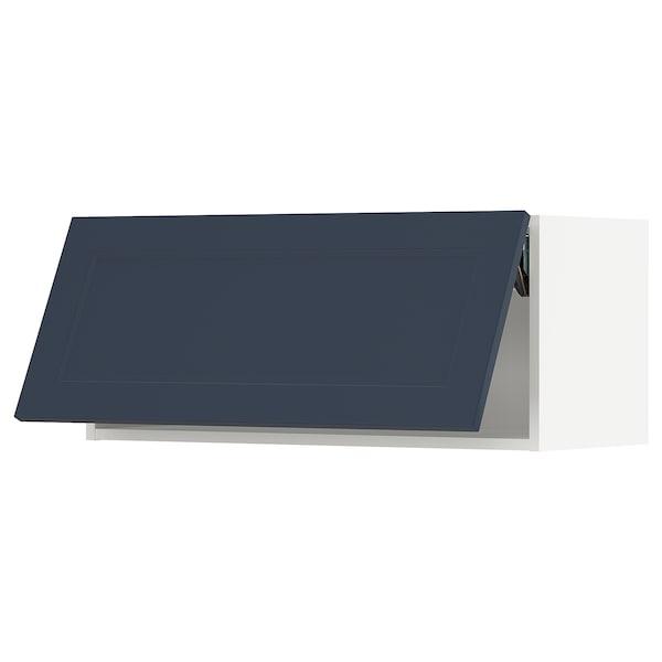 "SEKTION Wall cabinet horizontal w/ push-op, white Axstad/matte blue, 36x15x15 """