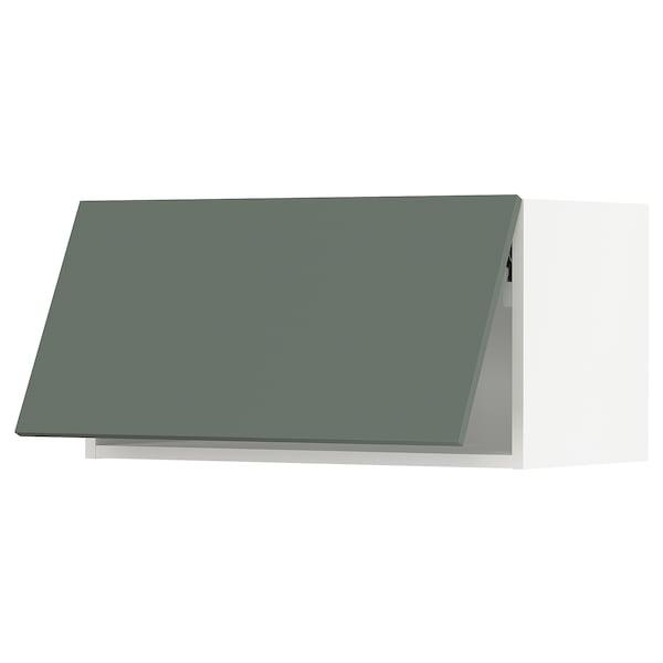"SEKTION Wall cabinet horizontal w/ push-op, white/Bodarp gray-green, 30x15x15 """