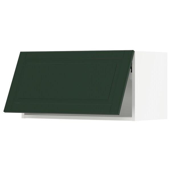 "SEKTION Wall cabinet horizontal w/ push-op, white/Bodbyn dark green, 30x15x15 """
