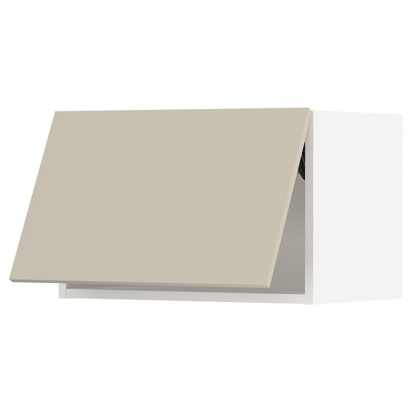 "SEKTION Wall cabinet horizontal w/ push-op, white/Havstorp beige, 24x15x15 """