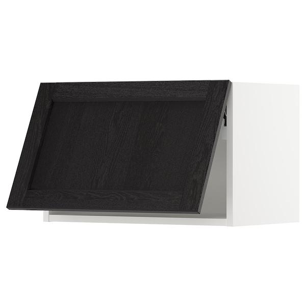 "SEKTION Wall cabinet horizontal w/ push-op, white/Lerhyttan black stained, 24x15x15 """