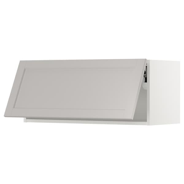 "SEKTION Wall cabinet horizontal w/ push-op, white/Lerhyttan light gray, 36x15x15 """