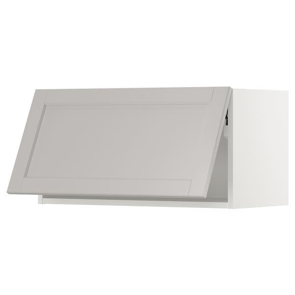 "SEKTION Wall cabinet horizontal w/ push-op, white/Lerhyttan light gray, 30x15x15 """
