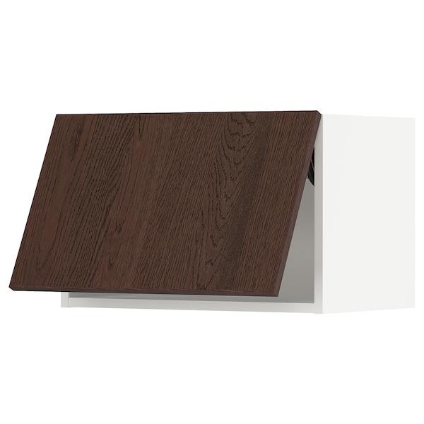 "SEKTION Wall cabinet horizontal w/ push-op, white/Sinarp brown, 24x15x15 """