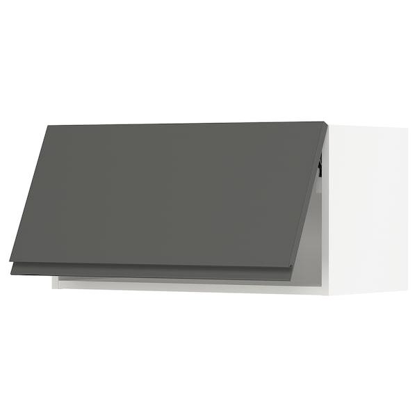 "SEKTION Wall cabinet horizontal w/ push-op, white/Voxtorp dark gray, 30x15x15 """