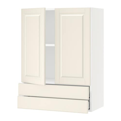 Sektion Wall Cabinet W 2 Doors Drawers White Bodbyn Off