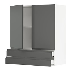 SEKTION wall cabinet w/2 doors+2 drawers, white Maximera, Voxtorp dark gray