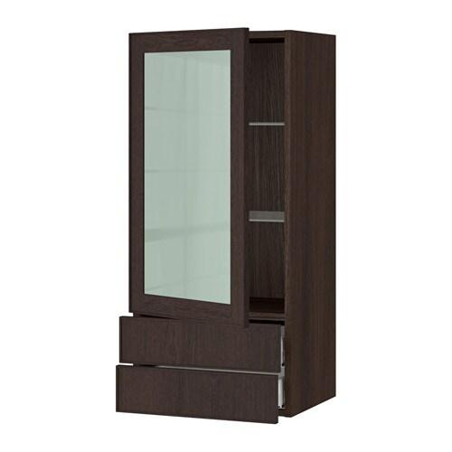 Sektion Wall Cabinet W Glass Door 2 Drawers Wood Effect Brown Ekestad Brown 18x15x40 Ikea
