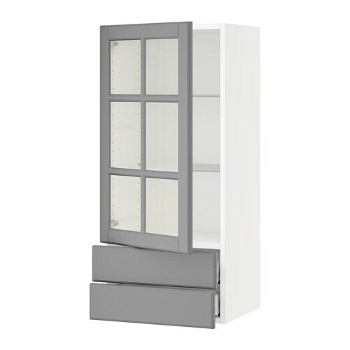 Sektion Wall Cabinet W Gl Door 2 Drawers Bodbyn Gray 15x15x40 Ikea