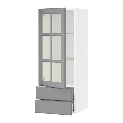 Sektion Wall Cabinet W Gl Door 2 Drawers