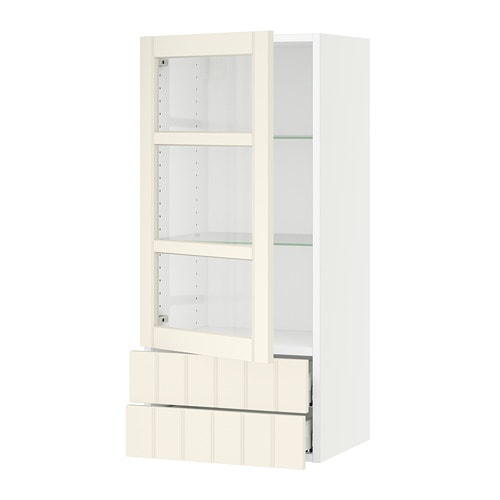 sektion wall cabinet w glass door 2 drawers white