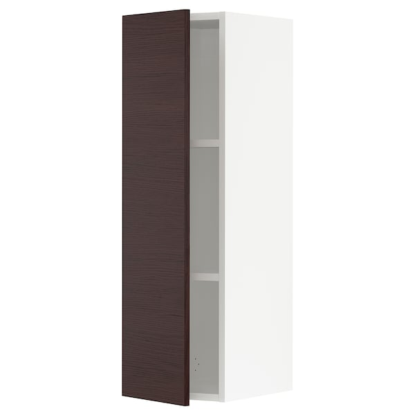 SEKTION Wall cabinet, white Askersund/dark brown ash effect, 12x15x40 ""