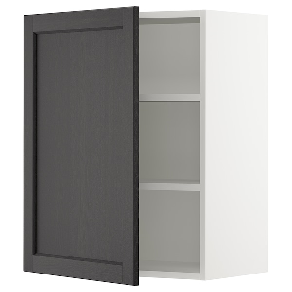SEKTION Wall cabinet, white/Lerhyttan black stained, 24x15x30 ""