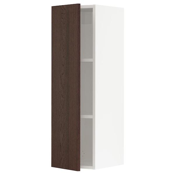 "SEKTION Wall cabinet, white/Sinarp brown, 12x15x40 """