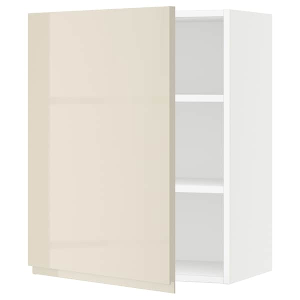 "SEKTION Wall cabinet, white/Voxtorp high-gloss light beige, 24x15x30 """