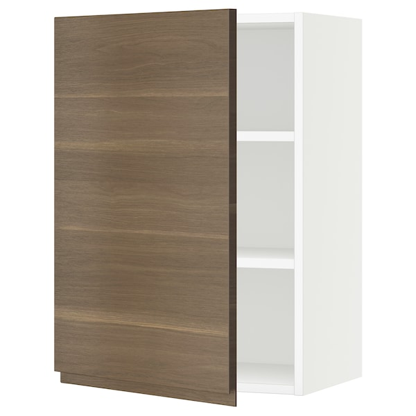 "SEKTION Wall cabinet, white/Voxtorp walnut effect, 21x15x30 """