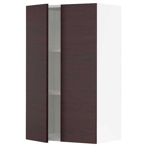 SEKTION Wall cabinet with 2 doors, white Askersund/dark brown ash effect, 24x15x40 ""