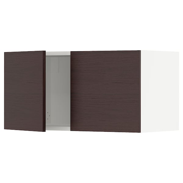 """SEKTION Wall cabinet with 2 doors, white Askersund/dark brown ash effect, 30x15x15 """""""
