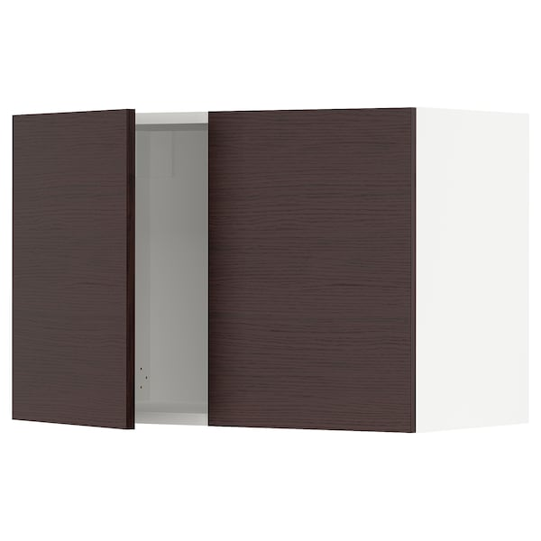 SEKTION Wall cabinet with 2 doors, white Askersund/dark brown ash effect, 30x15x20 ""
