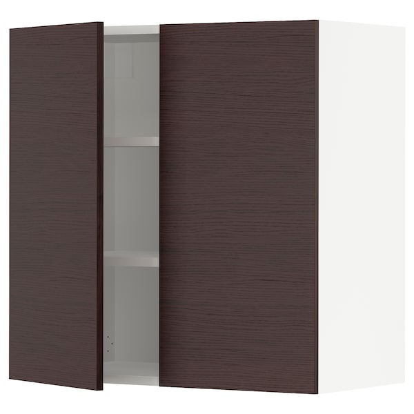"""SEKTION Wall cabinet with 2 doors, white Askersund/dark brown ash effect, 30x15x30 """""""