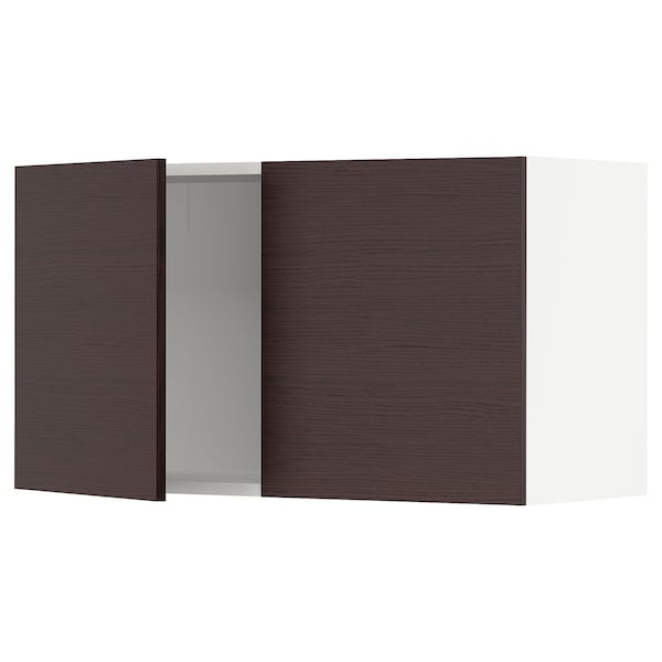 SEKTION Wall cabinet with 2 doors, white Askersund/dark brown ash effect, 36x15x20 ""