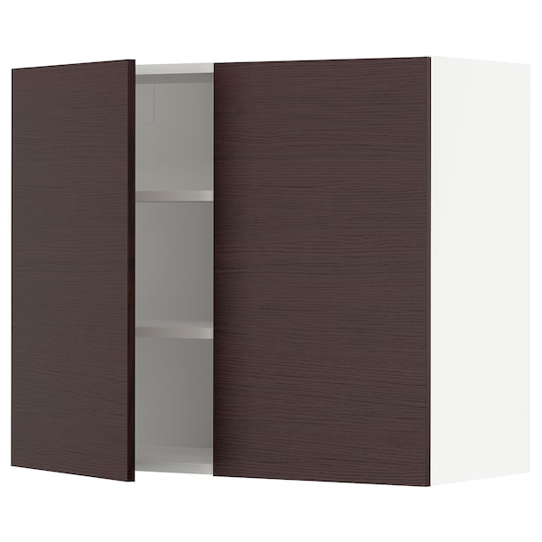 """SEKTION Wall cabinet with 2 doors, white Askersund/dark brown ash effect, 36x15x30 """""""