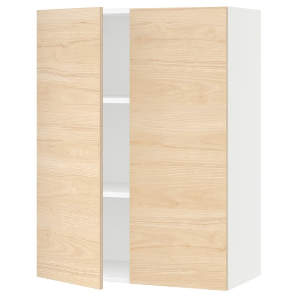 SEKTION Wall cabinet with 2 doors, white/Askersund light ash effect, 30x15x40 ""
