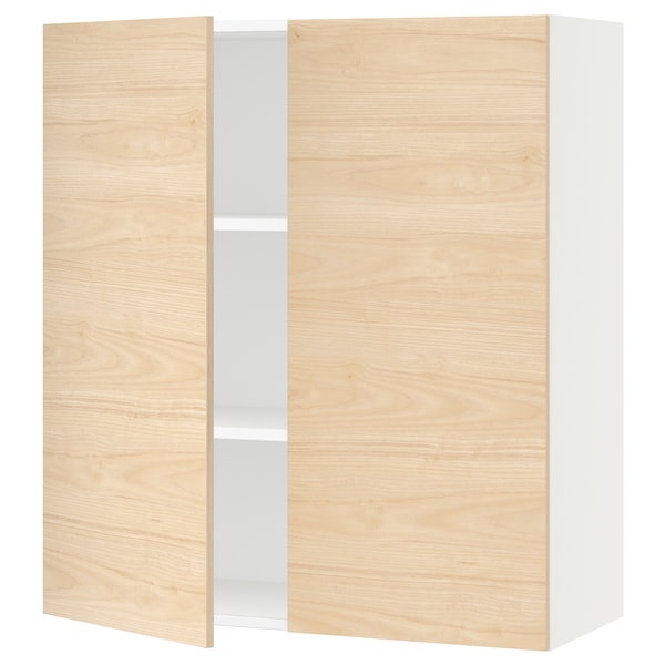 """SEKTION Wall cabinet with 2 doors, white/Askersund light ash effect, 36x15x40 """""""
