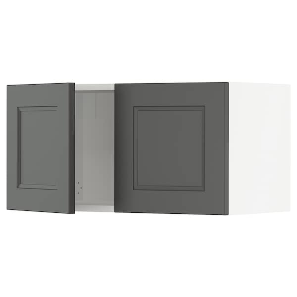 "SEKTION Wall cabinet with 2 doors, white/Axstad dark gray, 30x15x15 """