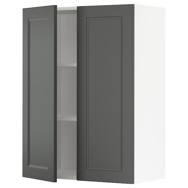 "SEKTION Wall cabinet with 2 doors, white/Axstad dark gray, 30x15x40 """