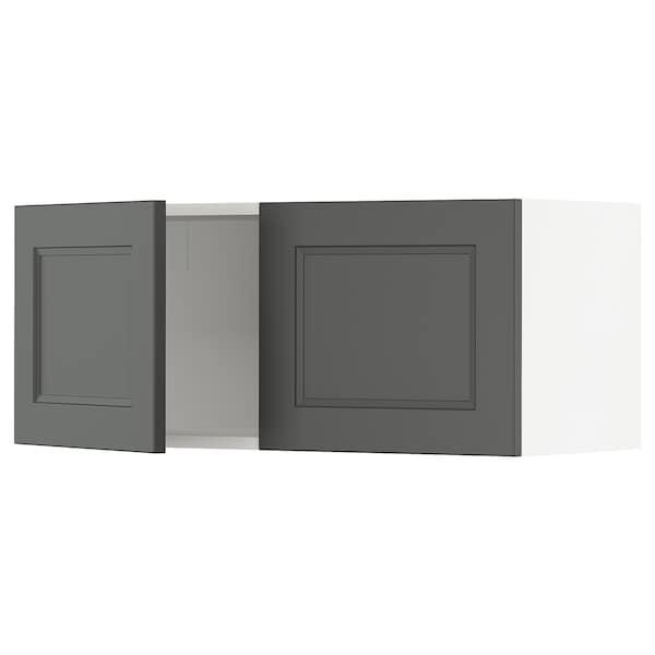 "SEKTION Wall cabinet with 2 doors, white/Axstad dark gray, 36x15x15 """