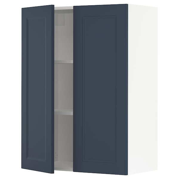 """SEKTION Wall cabinet with 2 doors, white Axstad/matte blue, 30x15x40 """""""