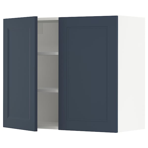 """SEKTION Wall cabinet with 2 doors, white Axstad/matte blue, 36x15x30 """""""