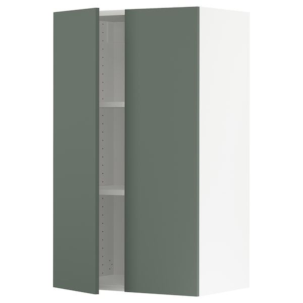 """SEKTION Wall cabinet with 2 doors, white/Bodarp gray-green, 24x15x40 """""""