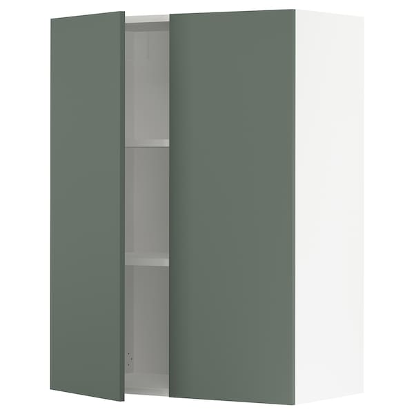 """SEKTION Wall cabinet with 2 doors, white/Bodarp gray-green, 30x15x40 """""""
