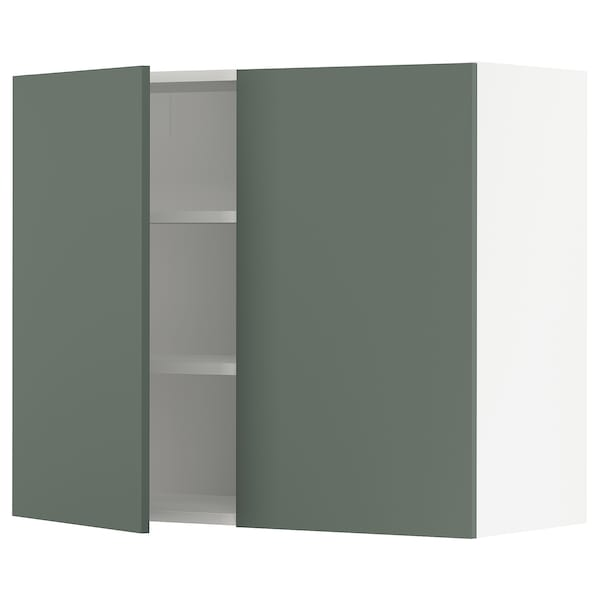 """SEKTION Wall cabinet with 2 doors, white/Bodarp gray-green, 36x15x30 """""""