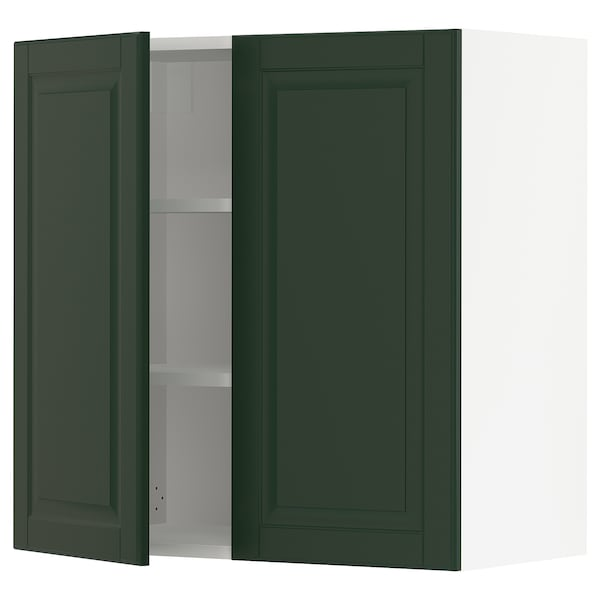 """SEKTION Wall cabinet with 2 doors, white/Bodbyn dark green, 30x15x30 """""""